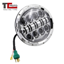 TCMOTO 7 inch LED Headlight DRL Daytime Running Light 6000K For Harley Davidson FLD Touring Softail Motorcycle