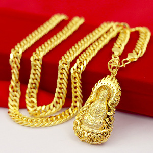 Classic 24K Gold Necklace for Men Gold Fine Jewelry Yellow Gold Luxury Men's Pendant Necklace for Wedding Jewelry Birthday Gifts