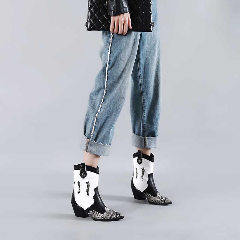 WETKISS Yılan Derisi Pu Batı Çizmeler Kadın Kovboy bileğe kadar bot Kadın Yüksek Topuklu Ayakkabı Bayanlar Sivri Burun Ayakkabı Kadınlar Kış BÜYÜK 45