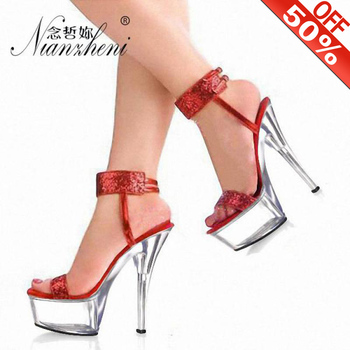 15 Cm High Heels 6 Inch High Heeled Platform Sandals Fine Silver Shiny Vamps Pole Dancing Crystal Shoes Glitter Clear Heels