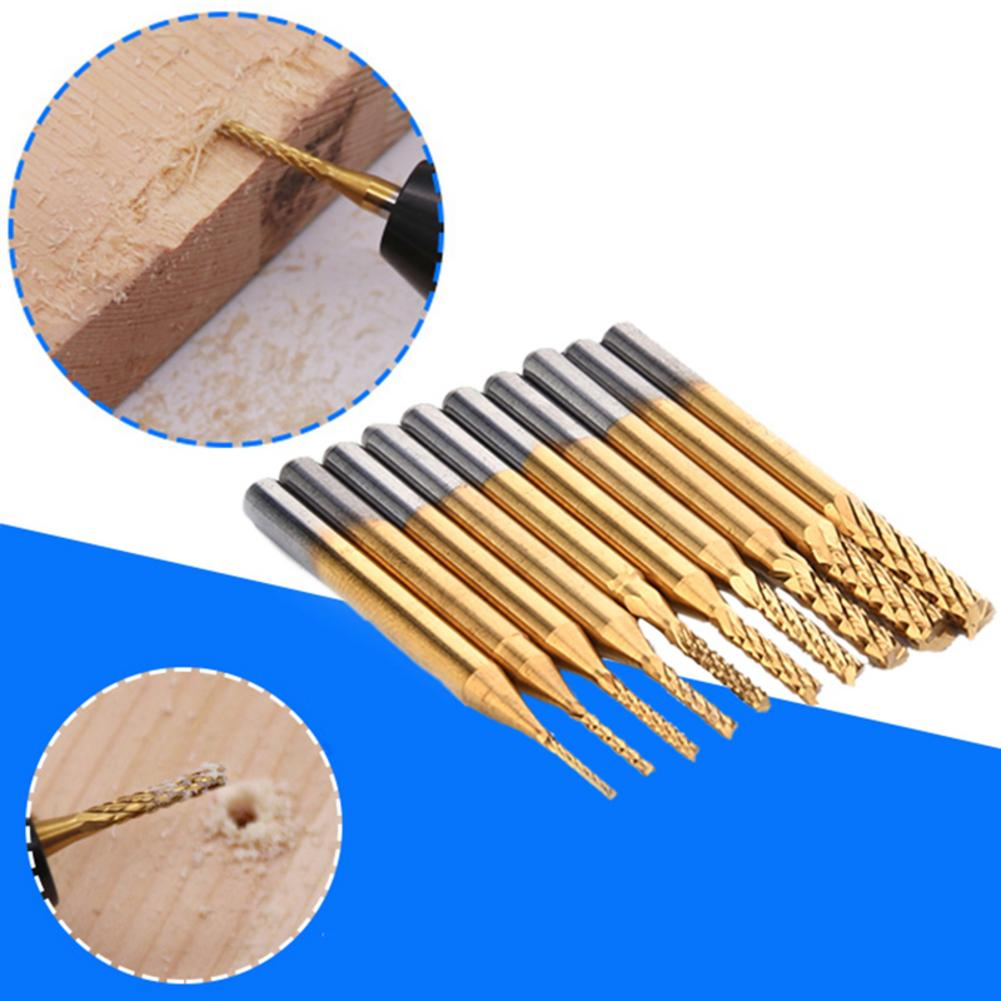 10pcs 0.8-3.175mm CNC End Mill Cutter Titanium Coated Carbide End Milling Cutter Engraving Edge Cutter For PCB Machine