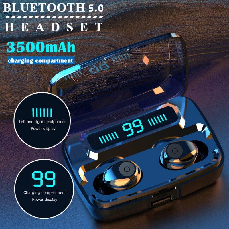 3500 Mah Power TWS True Wireless Bluetooth Earphone Stereo Bass Earbud Headphones In ear Sport Headset LED Display Phone MIC