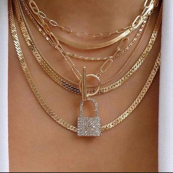 Exknl Layered Crystal Lock chain necklace 2020 girls cute necklace set claviclel chains women female fashion choker neck jewelry 1