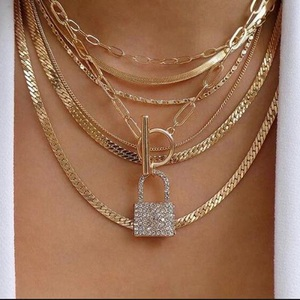Exknl Layered Crystal Lock chain necklace 2020 girls cute necklace set claviclel chains women female fashion choker neck jewelry