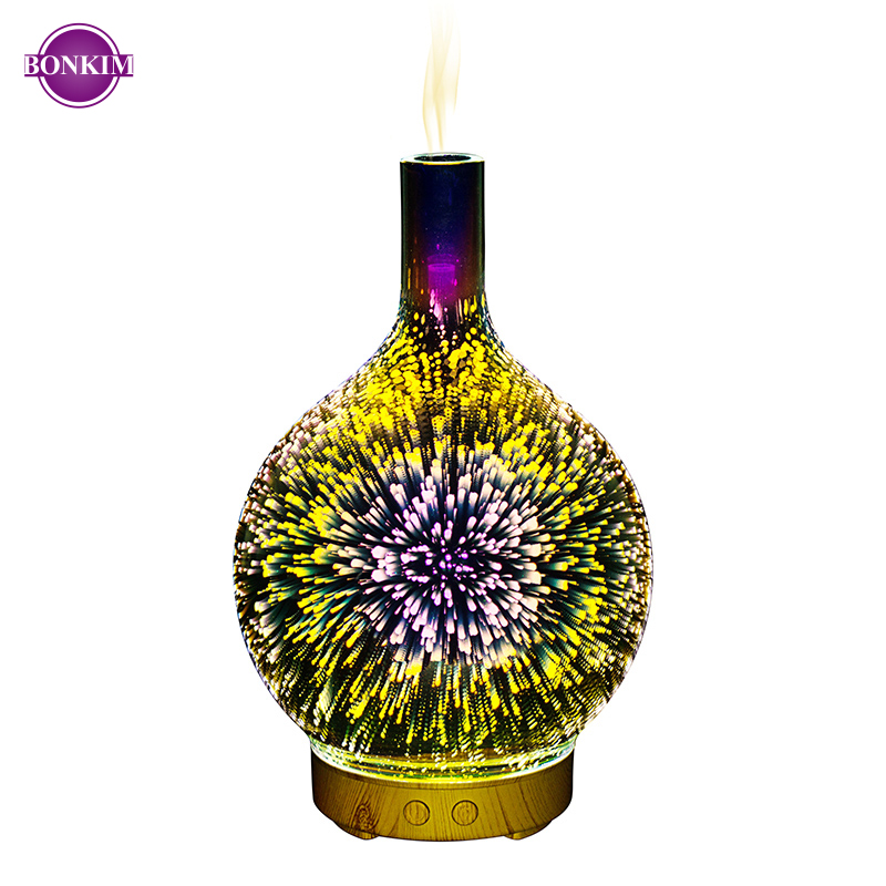 LED Night Light 3D Firework Visual Design Lamp Increase Humidity To Freshen The Air Quiet Comfortable Suitable For Night Bedroom