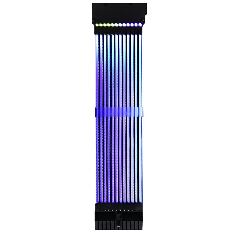 <font><b>24Pin</b></font> Neon PC Motherboard Power <font><b>Extension</b></font> <font><b>Cable</b></font> RGB PSU Line Parallel Line Adapter For PC Computer Case Computer Accessory image