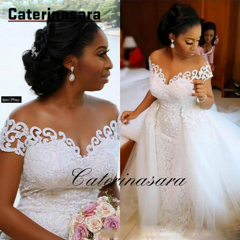 Sexy African Nigerian Mermaid Wedding Dresses With Detachable Train Full Lace Applique Sheer Off The Shoulder Bridal Gowns
