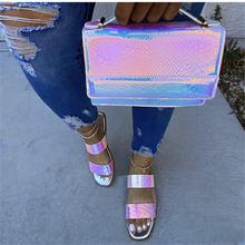 2021 Fashion HOT SALE Snake Veins Bright Handbags Purse Leisure Prom Bags Women Packet