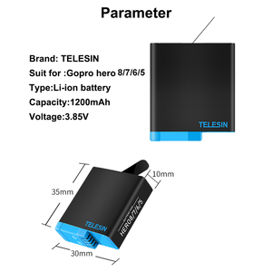 Image 5 - TELESIN 디코딩 리튬 배터리 Gopro 8 7 6 5 및 3 in 1 스토리지 박스 충전기 카드 리더기 go pro hero 8 5 6 7 hero 8 카메라