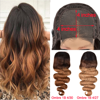 Ombre 4*4 Lace Closure Body Wave Wig Highlight Peruvian Lace Closure Wig Pre Plucked Remy Human Hair Lace Closure Wig For Women