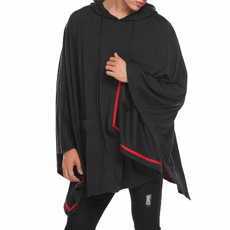 ผู้ชายสีดำ Poncho Cape Hoodie แฟชั่น Coat Pullover เสื้อคลุม Hipster Hip Hop Streetwear Casual Hoodie Sweatshirt กับกระเป๋า XXL