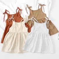Girls Summer Cotton And Linen Lace-Up Dress Fashion New Solid Color Casual Pocket Children's Sling Dresses WT205