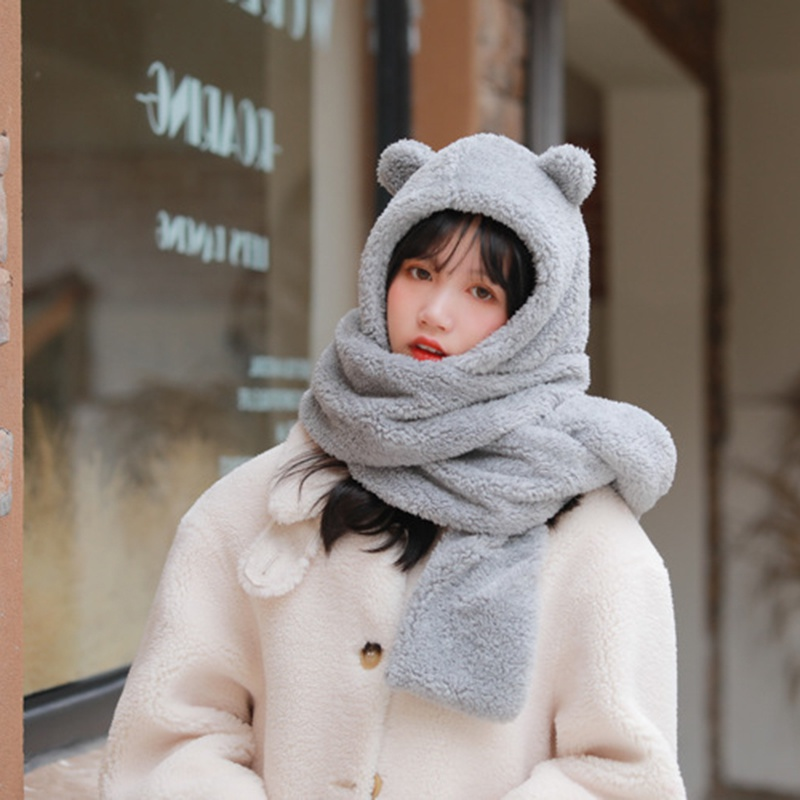 New Fashion Fluffy Animal Cap Scarf Gift For Girls Women's Warmer Scarf Winter Lovely Bear Ears Soft Plush Hat Hooded Scarves