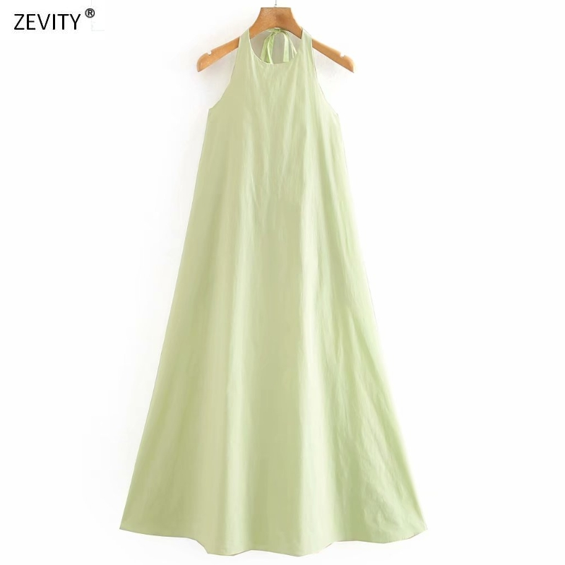 New 2020 Women Fashion Solid Color Lace Up Halter Midi Vestido Dress Female Sexy Backless Casual Loose Pockets Dresses DS3961