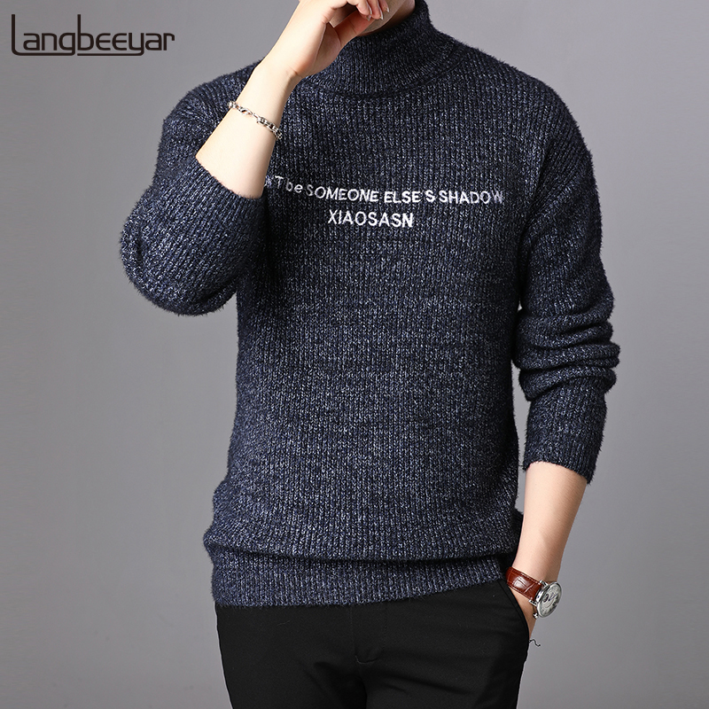 2019 New Fashion Brand Sweater Man Pullovers Turtleneck Slim Fit Jumpers Knitwear Woolen Autumn Korean Style  Casual Men Clothes