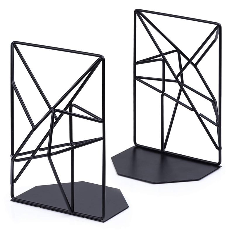 Bookends Black,Decorative Metal Book Ends Supports For Shelves,Unique Geometric Design For Shelves,Kitchen Cookbooks,Decorative