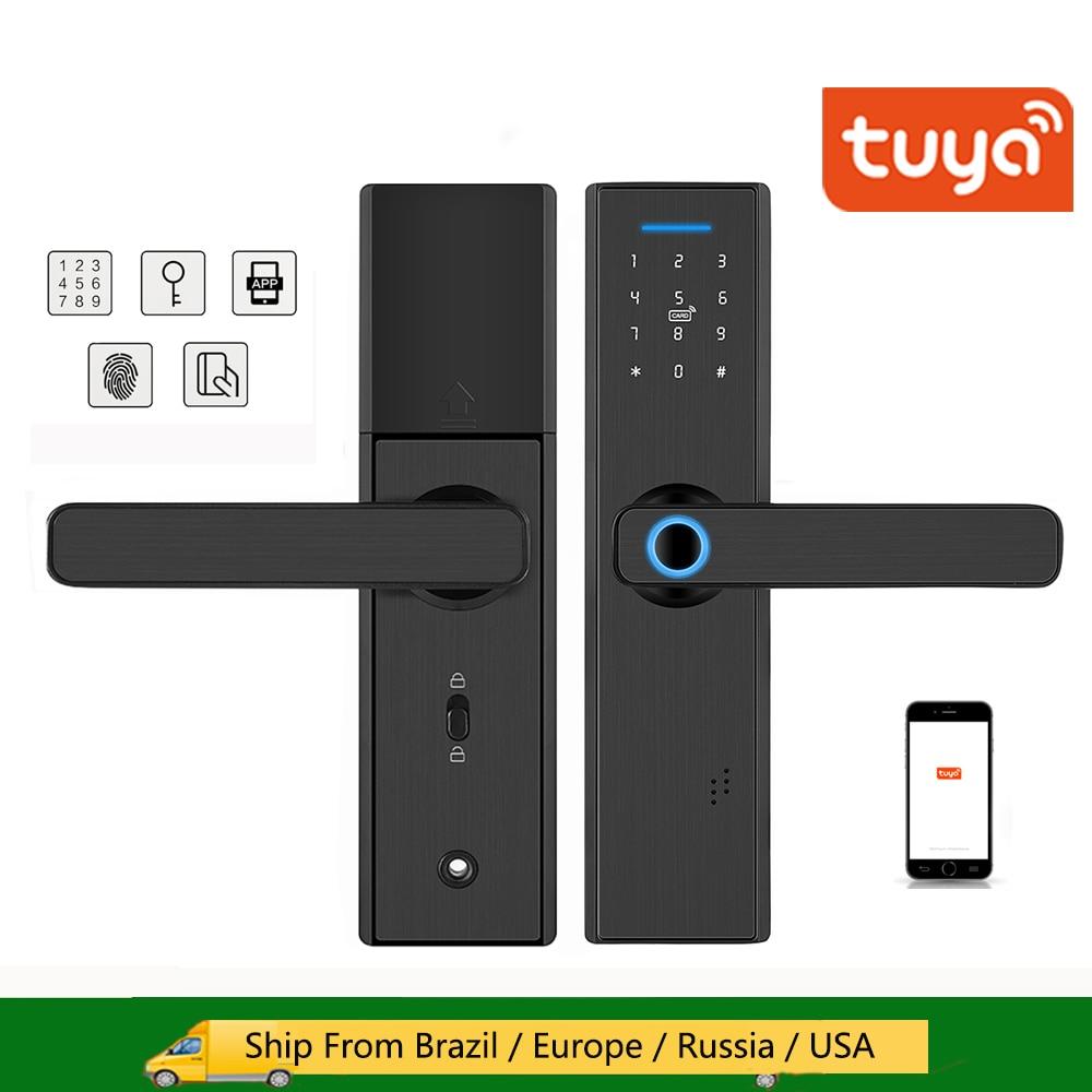 Дверной смарт-замок Tuya с Wi-Fi, замок со сканером отпечатка пальца, паролем, картой IC, дистанционным управлением через приложение, цифровой две...