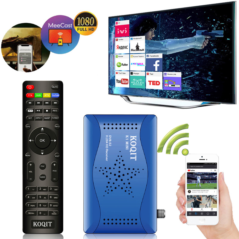 Koqit k1 Mini Receptor de satelite IPTV Decoder DVB S2 Satellite Receiver Mirror Cast DVB-S2 T2MI TV tuner Finder Wifi Youtube