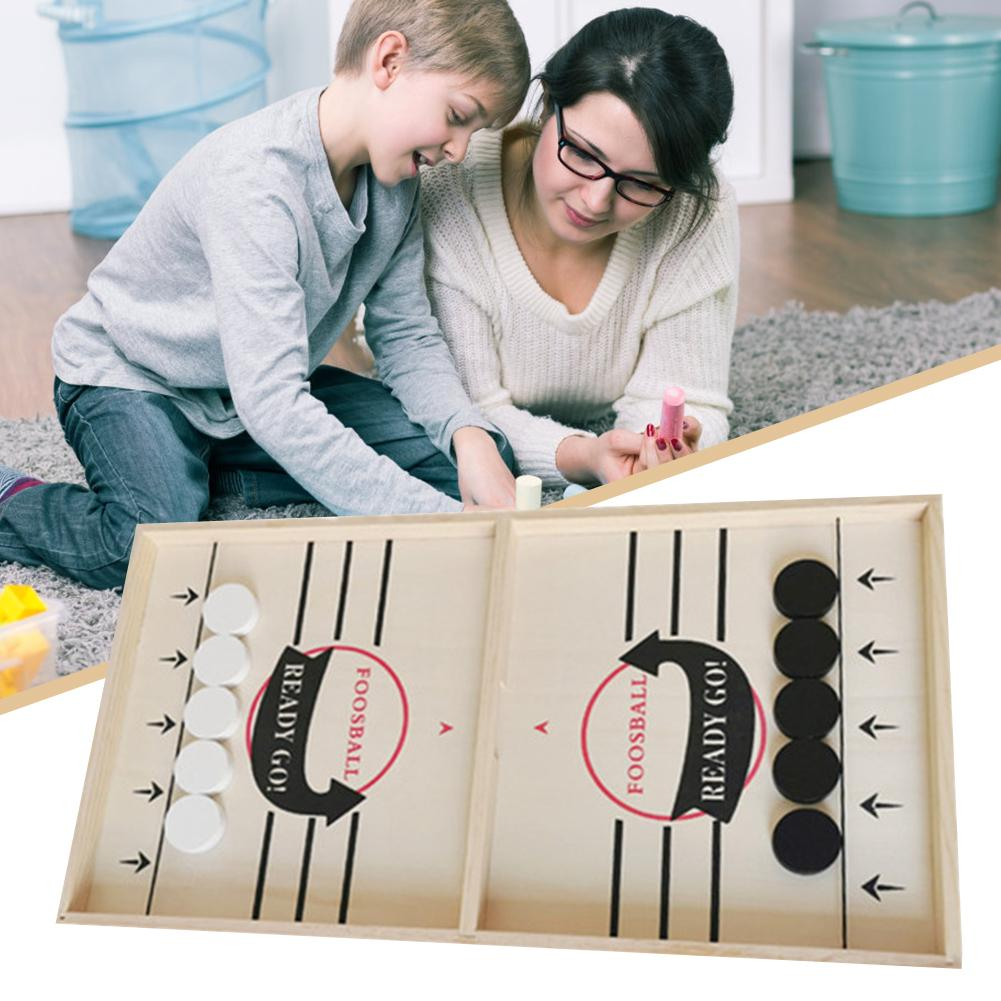 Head-to-Head Wooden Desktop Hockey Table Game Portable Hockey Game Set Battle Board Games Fast Sling Puck Game Party Supplies