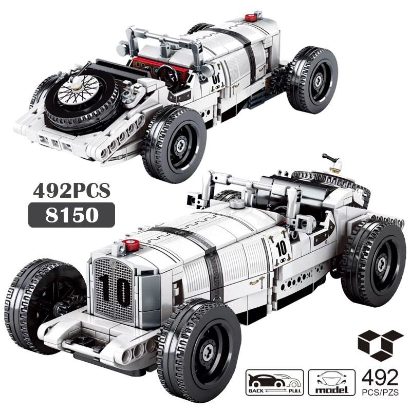 Retro clássico carros crianças brinquedos blocos de construção cidade técnica longo veículo supercarro modelo de corrida montado tijolos natal diy presente