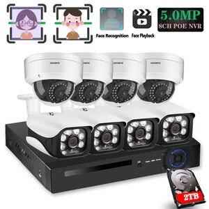 8CH 5MP Беспроводной NVR POE безопасности 8 шт. пуля и купол IP камера системы IR-CUT P2P CCTV видео регистратор комплект записи лица