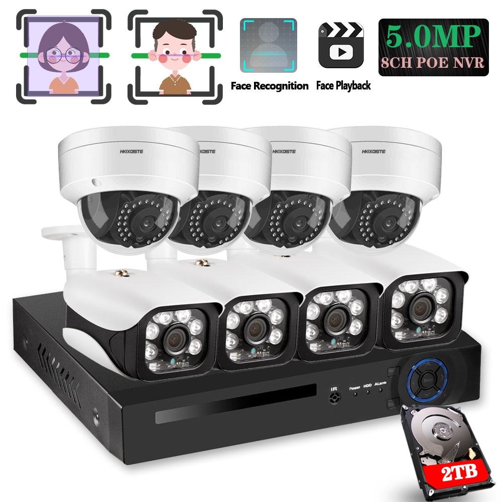 8CH 5MP Wireless NVR POE Security 8 Pcs Bullet&Dome IP Camera System IR-CUT P2P CCTV Video Surveillance Recorder Kit Face Record