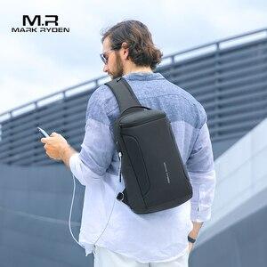 Image 2 - 2020 neue Männer Umhängetasche Passt 12 zoll iPad Schulter Messenger Taschen Männlichen Wasserdichte USB Aufladen Sling tasche