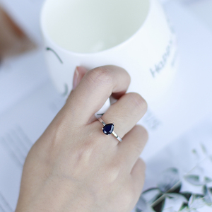 GEM'S balet 1.29Ct gruszka naturalny błękitny szafir obrączki 925 srebro Comfort Fit pierścień dla kobiet biżuteria ślubna