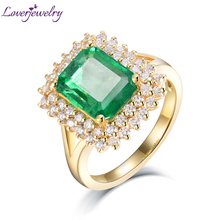 Luxury Rings For Women 7x9mm Natural Emerald Gemstones Solid 18kt Yellow Gold 100% Genuine Diamonds Female Eternity Ring Jewelry