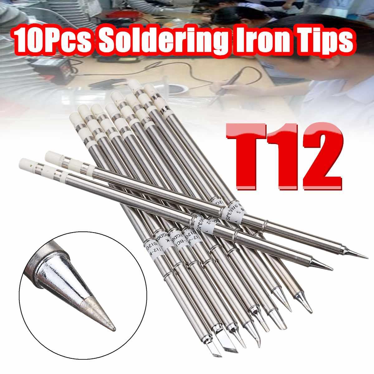 Drillpro 10pcs T12 Soldering Iron Tips Set Soldering Alloy Iron Tips Lead-free Solder Tips Welding Head Soldering Tools 155mm