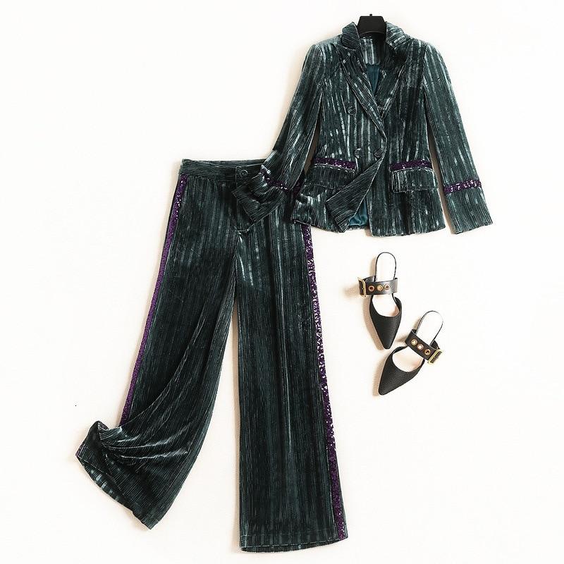 Escritório da Senhora Da forma Calças Profissionais Ternos Stripe Blazer e Calça Dois Set Outono Inverno Nova Mulher Ouro de Veludo Terno Ocasional conjuntos - 5
