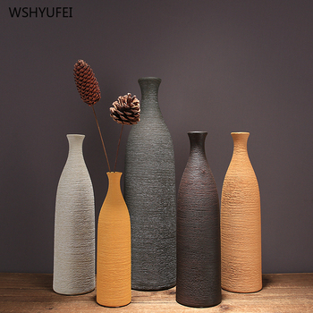 1Pcs Classic line ceramic vase bottom non-slip brown small mouth vase restaurant home countertop floral art decoration ornaments 1