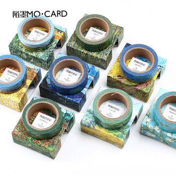 1Pcs Washi Tapes DIY Van Gogh Painting Paper Masking Tape Decorative Adhesive Tapes Scrapbooking Decoration Stationery Supplies image