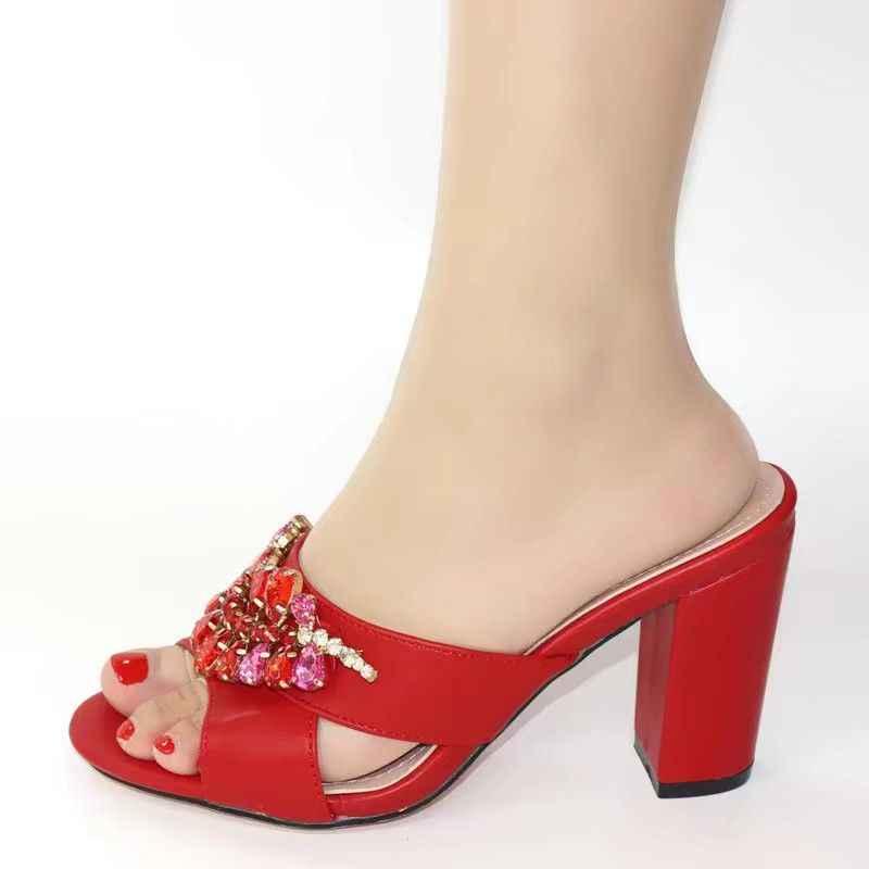 Wspaniałe czerwone szpilki z ładną kryształowa dekoracja afrykańskie czółenka do sukni V265, pięta 9CM