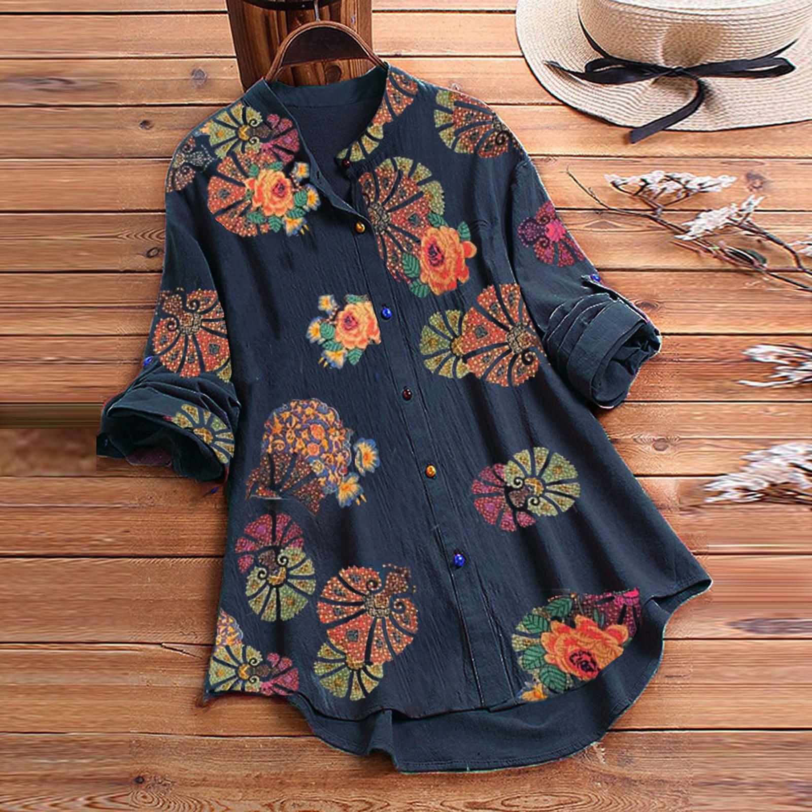 Blouse Women Casual Flower Print Long Sleeve O Neck Button Loose Shirt Top Blouse blusas mujer de moda 2020