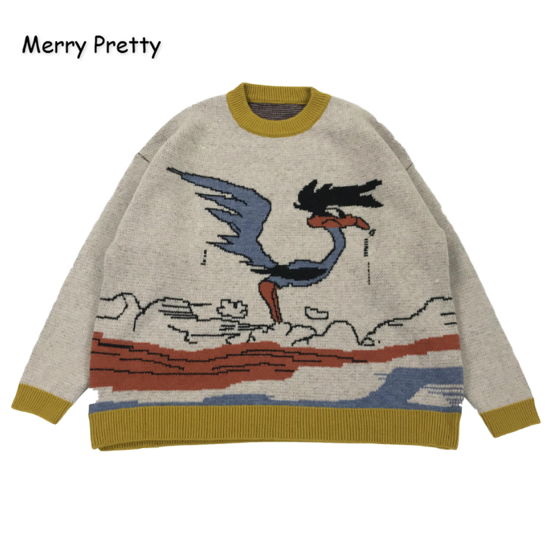 MERRY PRETTY Cartoon Bird Knit Jumper Autumn Winter Womens Pullover Sweater O-Neck Long Sleeve Women Sweaters And Pullovers