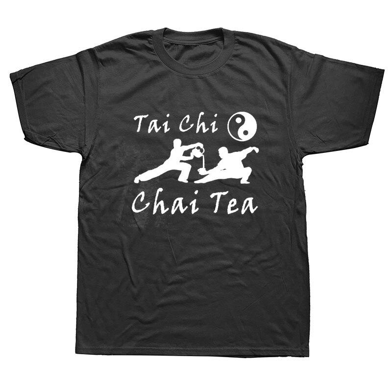 Funny Yin Yang TAI CHI Tea T Shirts Men Summer Cotton Harajuku Short Sleeve O Neck Streetwear Black T-shirt