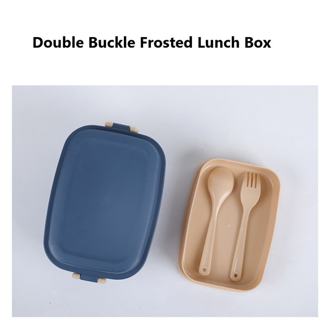 1set Home Kitchen Dining Bar Tableware Microwave-heatable Lunch Box Double-buckle Double-layer Frosted Bento Box With Spoon Fork