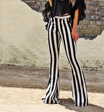 купить Women Fashion Striped Bell Bottoms Pants Elastic Waist Long Trousers Leggings Female Strip Flare Pants Clothes дешево