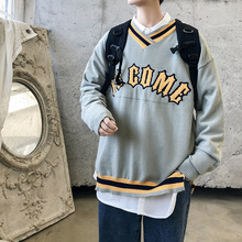 Winter Sweater Men Warm Fashion Contrast Letter Print Casual V-neck Knit Pullover Men Loose Long Sleeve Sweter Male Clothes