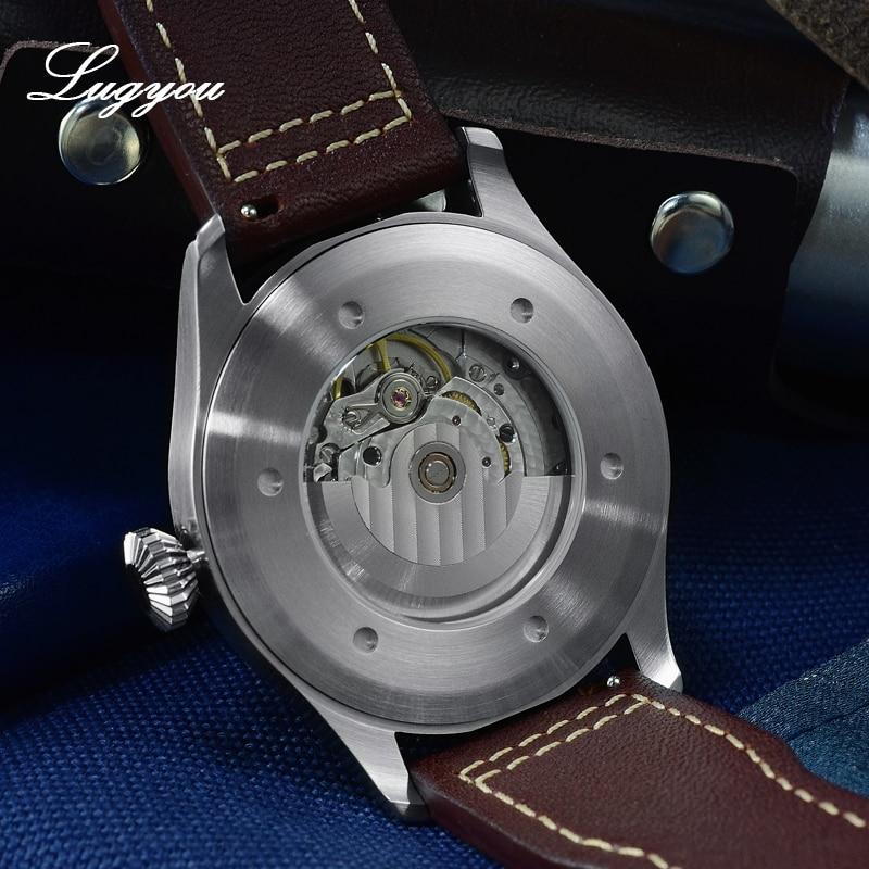 Image 5 - Lugyou San Martin Mechanical Pilot Flieger Men Watch Stainless steel Skeleton Back Waterproof Blue Hands Super Luminous LeatherMechanical Watches   -