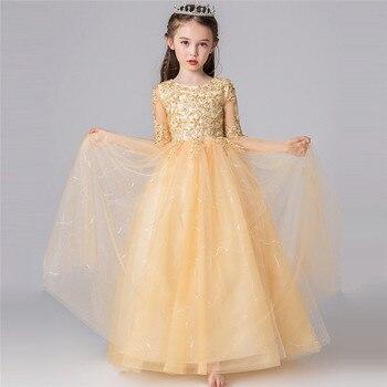 2019Luxury New Kids Children Elegant Embroidery Lace Princess Birthday Wedding Party Dress Girls Host Piano Costumes Dress Wear