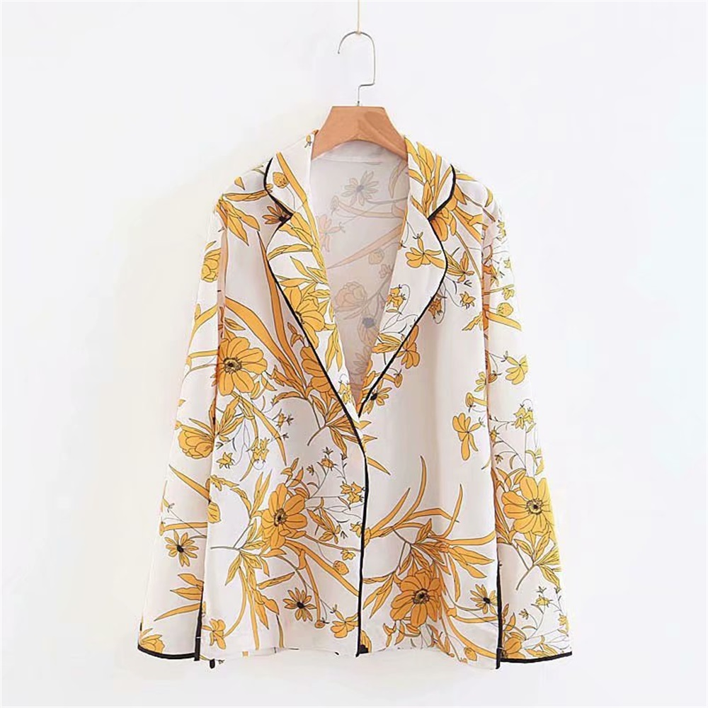 2020 Early Spring Women's New Lapel Long Sleeve Retro Little Fragrant Wind Contrast Printing Shirt Style Loose Thin Casual Suit