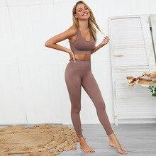 Conjunto de Yoga sin costuras para mujer Sujetador deportivo + mallas, pantalones de Fitness, gimnasio, correr, ropa de ejercicio, 2 uds., novedad de 2020