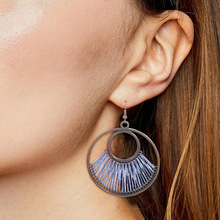 European and American original hand-woven earrings fashion circle female Bohemian hollow exaggerated jewelry