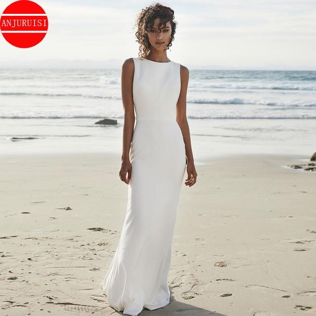 ANJURUISI 2020 Beach Wedding Dresses V Back Soft Satin Sweep Train Cheap Long Boho Bohemian Mermaid Bride Dress Backless Plus 2