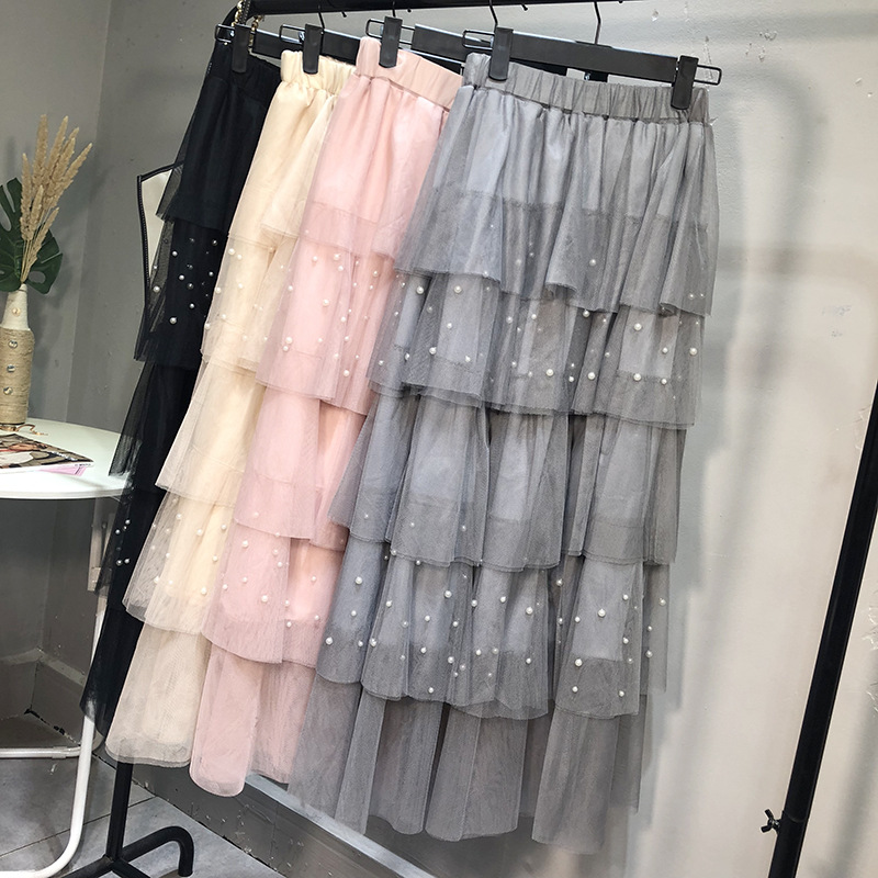 New Style High-waisted Mid-length Korean-style Beads Gauze Cake Dress Multi-Level Tutu Fairy Skirt Half-length Skirt Fashion