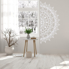 Half Mandala Wall Decal Headboard - Removable Wall Decals Bedroom Stickers, Mandala Wall Art Meditation Room Bohemian A12-024