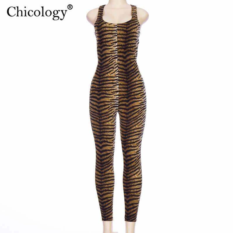 Chicology imprimé tigre sexy combinaison longue pantalon croisé sans sommeil femmes saut costume 2019 automne hiver streetwear vêtements