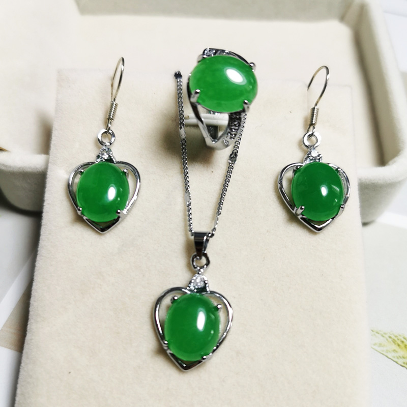 Jadery Silver Heart Earrings Jewelry Sets CZ Natural Green Jade Emerald Necklace/Ring Silver 925 Jewelry Women Party Gifts 2020